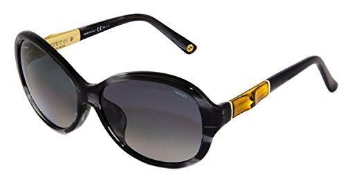 GUCCI Oval GG3684FS Grey Horn Gold BAMBOO Sunglasses Asian Fit 3684 - Gucci Bamboo Sunglasses