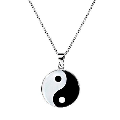 (AeraVida Yin and Yang Taoism Balance of Life .925 Sterling Silver Pendant Necklace)