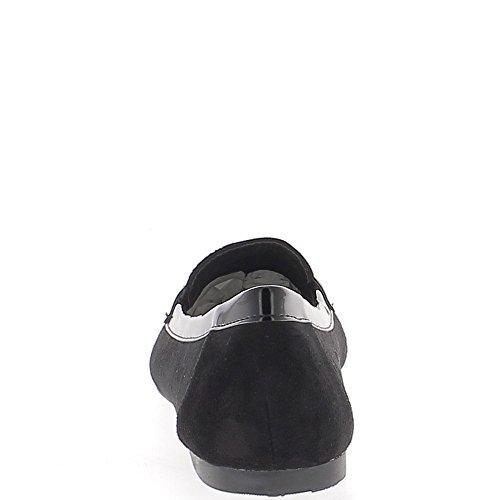 Aspetto nero ballerine camoscio twill nastro 0,5 cm con punta guardare mocassini