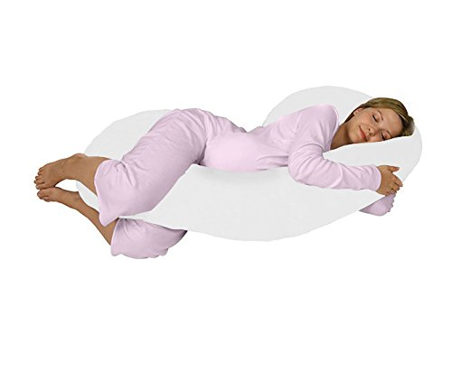 Queen-Rose-C-Shaped-Maternity-Pillow-for-Side-Sleeping-Contoured-Body-Supportwith-Comfortable-Cotton-CoverWhite