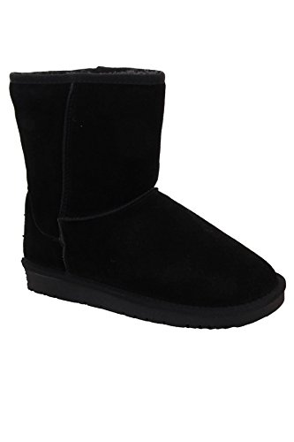 Fantasia Boutique Ladies Snugg Leather Suede Plain Fur Lined Warm Comfy Flat Ankle Boots Shoes Black GsiuZalL