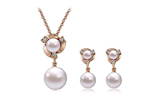 Most Beloved White Pearl Earring and Necklace Sets 18k Gold Plated Wedding Jewelry Sets