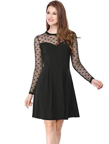 Allegra K Women's Mesh See Through Sheer Skater Party Dress XL Black (Black Sheer Sleeves Dress)