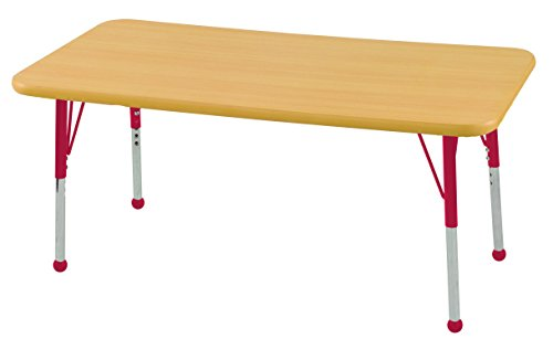 ECR4Kids T-Mold 30'' x 48'' Rectangular Activity School Table, Toddler Legs w/ Ball Glides, Adjustable Height 15-23 inch (Maple/Red) by ECR4Kids