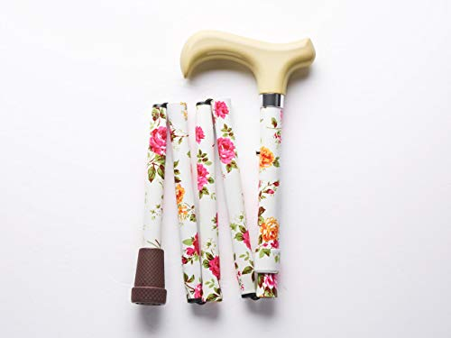 Merry Sticks Designer Folding Adjustable Walking Cane, Cream Flowers