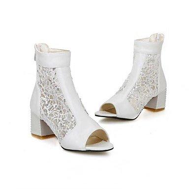 FSCHOOLY Womens Zapatos Verano Pu Confort Sandalias Chunky Talón Puntera Redonda Para Casual Beige Rosa Negro Beige