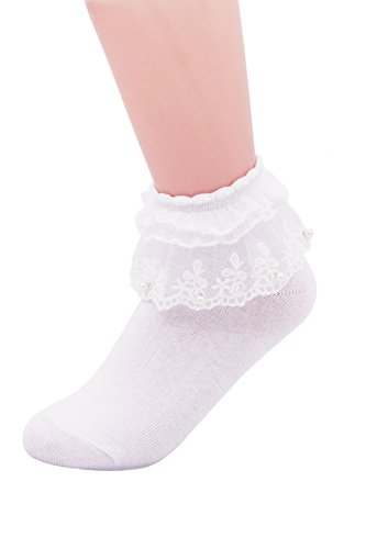 SEMOHOLLI Women Ankle Socks,Pearl Lace Ruffle Frilly Comfortable No-Show Cotton Socks Princess Socks Lace Socks (1 Pairs-white)