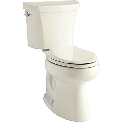 KOHLER K-3989-96 Wellworth Highline Two-Piece Dual-Flush Elongated Toilet with Class Five Flush System and Left-Hand Trip Lever, Biscuit Biscuit Dual Flush