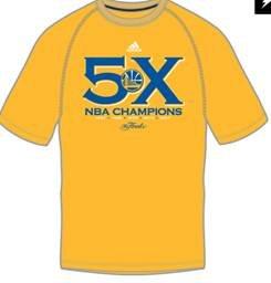 arriors adidas Gold 2017 NBA 5X Champs T-Shirt (X-Large) ()
