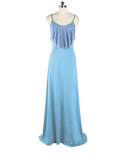 PU&PU Robe Aux femmes Gaine / Swing Sexy / Simple,Couleur Pleine A Bretelles Maxi Coton / Polyester , light blue-l , light blue-l
