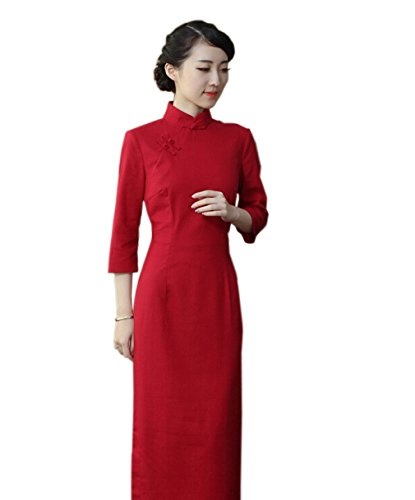 Chinoise Manche 3 Couleur Avec Acvip Cheongsam Longue Pure Traditionnelle Robe Femme Rouge 4 Qipao ZzqXY