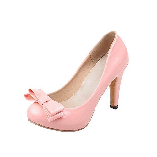 Amoonyfashion Dames Solide Laklederen Hoge Hakken Pull-on Ronde Gesloten Teen Pumps-schoenen Roze
