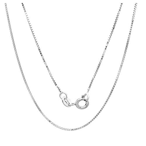 18K Solid Gold 0.5mm Diamond- Cut Italian Box Chain Necklace- Made in Italy- Available in Yellow White or Rose (White, 16)