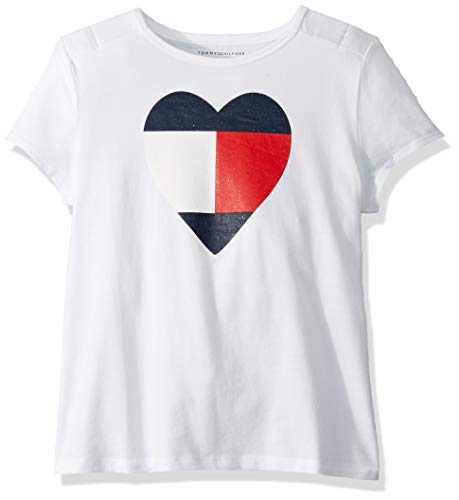 Tommy Hilfiger Girls' Adaptive T Shirt Magnetic Buttons at Shoulders, classic white X-Small