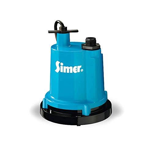 Simer 2300-04 1/4 HP Submersible Utility Pump, Geyser Classic, Heavy-duty Cast Aluminum, Includes Garden Hose Adapter, 1-1/4
