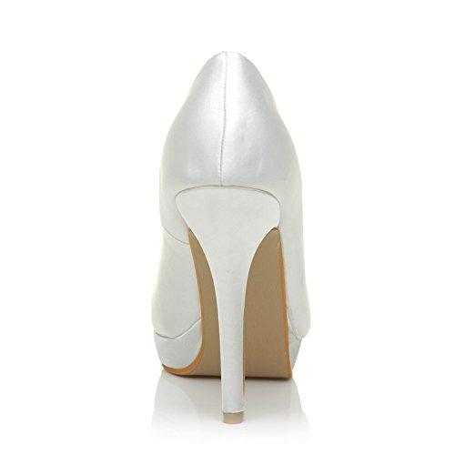 Eve White Satin Stiletto High Heel Platform Bridal Court Shoes 7uD2pRdOP