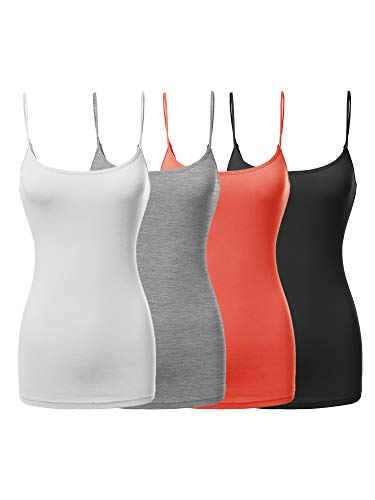Made by Emma Basic Solid Long Length Adjustable Spaghetti Strap Tank Top Black/White/H.Grey/Bright Coral L
