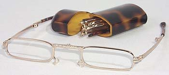 Mini Folding Glasses with Tortoise Shell casem, 1.25 Strengt