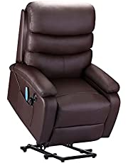 Electric Power Lift Recliner Chair,Leather 160°Reclining Chairs with USB Port, Ergonomic Fauteuil Inclinable Massage Sofa with Remote Control for Living Room