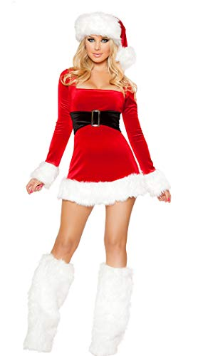Leright Women's Christmas Costumes Holiday Santa Lingerie Outfits Jingle Dress