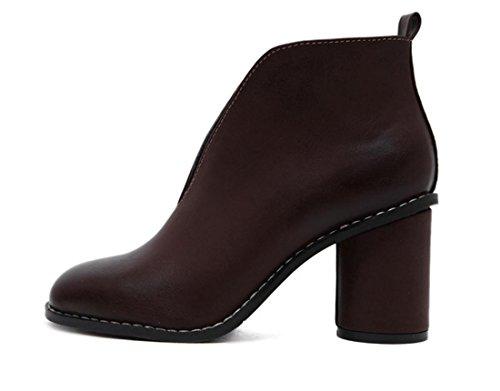 Señoras Mujeres Nuevos zapatos de tacón alto sola boca baja tacón artificial artificiales PU negro otoño primavera club nocturno de trabajo del partido Brown