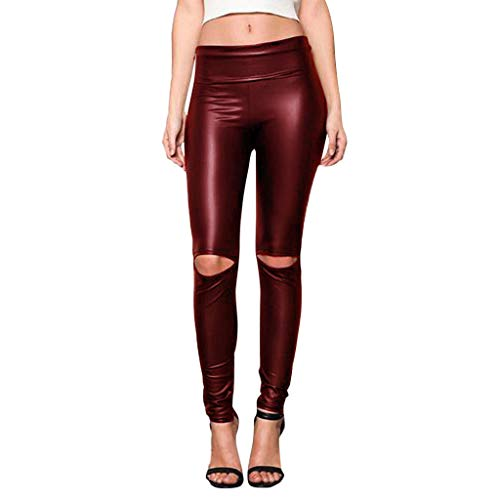 TIFENNY Women Knee Cut Ripped Hole High Waisted Skinny Leather Leggings Tights Pants Fashion Sexy Club Trousers Pant Red