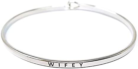 by way of you Inspirational Positive Message Engraved Thin Cuff Bangle Hook Bracelet