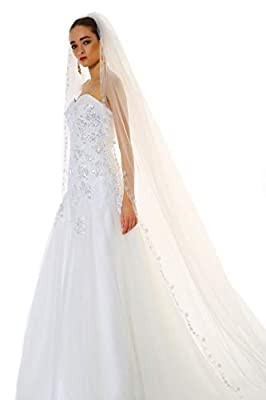 Passat 2M/3M/5M NEW! Floral Beaded Veils Scallop Edge Cathedral wedding veils for brides 224