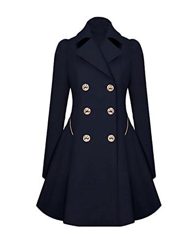 Femme Trench Longues Long Trenchs Fashion Slim Manteau Vintage Elegant Automne Taille Boutonnage Hiver Chic Haute Bleu Veste Outwear Lapel Classique Manches Parka Double rrxaTdwX