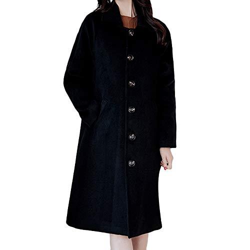 (Jiusike Women Solid Vintage Winter Cloak Single Button Woolen Loose Jacket Long Overcoat)