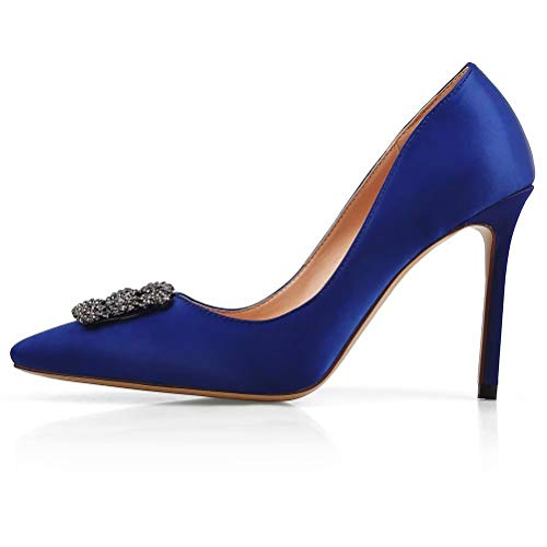 b8a2309bc7056a Chris-T Women s Satin Full Sole Diamonds Pointy Closed Toe High Heel Pumps