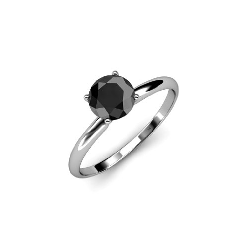 - Black Diamond Solitaire Ring 3.00 ct in 14K White Gold.size 8.5