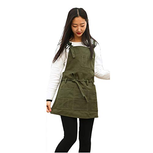 LuFOX Adult Canvas Artist Painting Apron,Paint Gardening Shop Artist Waxed Aprons with Pockets for Women/Men/Unisex (Green)
