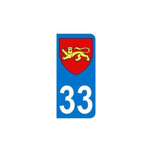 Autocollant 33 blason Aquitaine plaque immatriculation Auto (9,8 x 4,5 cm)