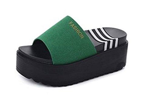 AJUNR Moda/elegante/Transpirable/Sandalias Zapatillas arrastrar y soltar bizcochos zapatos gruesos de 8cm con pendiente Verde 39 38
