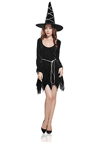 Adult Women Witch Costume Sorceress Halloween Cosplay & Role Play Evil Dress Up (Small/Medium, Black, (Sorceress Witch Costume)