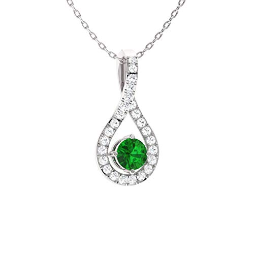Diamondere Natural and Certified Emerald and Diamond Drop Petite Necklace in 14k White Gold | 0.36 Carat Pendant with Chain