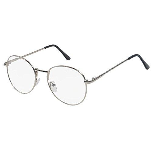 ade60d7b29c Simvey Retro Round Oversized Prescription Metal Eyeglasses Frame Clear Lens  Glasses