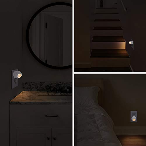 Emotionlite Plug-in Night Lights, Warm White LED Nightlight, 360° Rotation, Dusk to Dawn Sensor, Kids, Adult, Bedroom, Hallway, Bathroom,Kitchen, Stairways, Corridor, UL Listed, 6 Pack