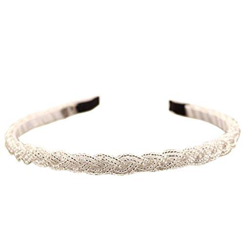 Womens Fashion Rhinestone Bead Crystal Headband Hair Band (White)