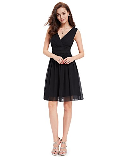 Ever-Pretty Womens Double V Neck Ruched Waist Short Party Dress 4 US Black - Black Chiffon Cocktail Dress