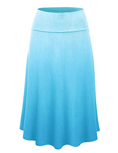 Lock and Love LL Womens Ombre Fold Over Flared Midi Skirt XXL ()