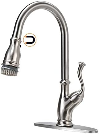 APPASO Pull Down Kitchen FaucetMagnetic Docking Sprayer and Brush - Solid Brass Single Handle High Arc One Hole Pull Out Kitchen Sink Faucets Matte Black & Rose Gold APS225BRG