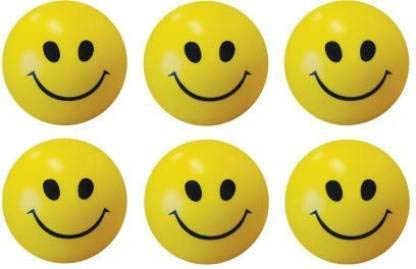 Dhiya Fashions  amp; Supplies    Set of 6  Smiley Face Squeeze Stress Ball   3 inch  Yellow, Black