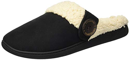 Dearfoams Women's Microsuede Clog with Button Tab Slipper, Black, L Regular US ()