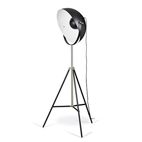 Artiva USA Jumbo Studio, Tripod Design, 72-Inch Black Metal Floor Lamp with Adjustable Dome Shade for Lighting and Picture Taking