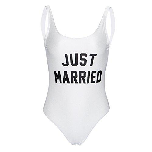 338c720328 Homyl Fashion Women s One-Piece Swimsuit Just Married Beachwear Monokini Swimwear  Bride Honeymoon Gift - Buy Online in Oman.