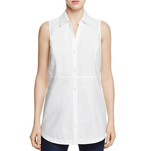 Foxcroft Womens Wear to Work Sleeveless Tunic Top White 2