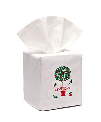 "Jacaranda Living Linen Tissue Box Cover, Red Pear Topiary Tree, White, 4.5"" X 4.5"" X 5.25"", 4 Ounce"