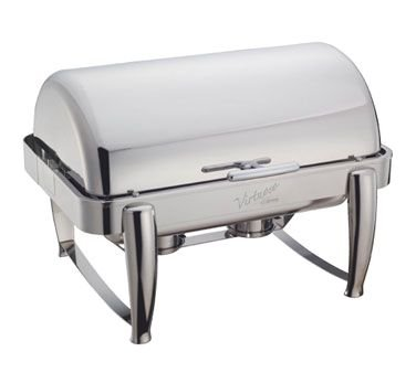 Winco 101B Virtuoso Chafer, 8 Quart, Full Size, Oblong, Roll Top, W/ Food Pan, Water Pan & 2 Fuel (Chafer Roll Top Oblong)
